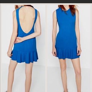 Zara Blue Open Back Dress with Frill